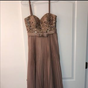 Strapless/spaghetti strap nude pink gown